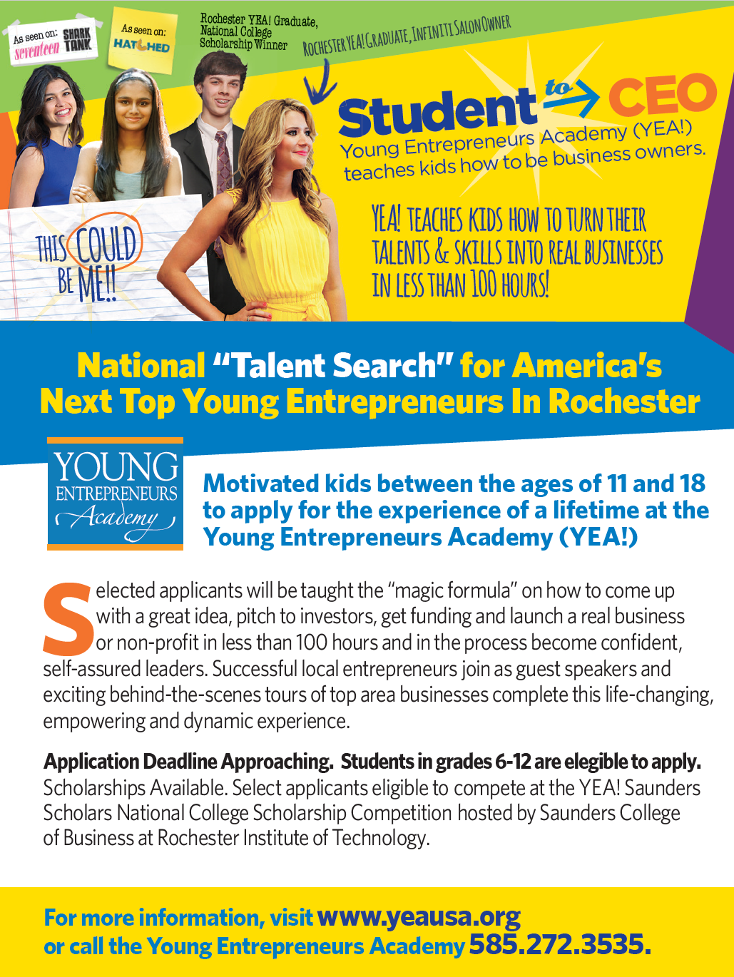 "The ""Talent Search"" is on for America's Next Top Young Entrepreneur"